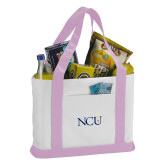 Contender White/Pink Canvas Tote-NCU Logo