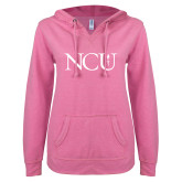 ENZA Ladies Hot Pink V Notch Raw Edge Fleece Hoodie-NCU Logo