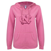ENZA Ladies Hot Pink V Notch Raw Edge Fleece Hoodie-NC Glitter Hot Pink