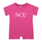 Bubble Gum Pink Infant Romper-NCU Logo