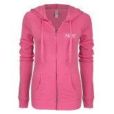 ENZA Ladies Hot Pink Light Weight Fleece Full Zip Hoodie-NCU Logo