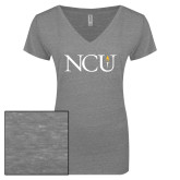 ENZA Ladies Graphite Melange V Neck Tee-NCU Logo