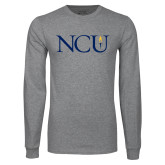 Grey Long Sleeve T Shirt-NCU Logo