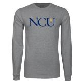 Grey Long Sleeve T Shirt-NCU Logo