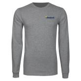 Grey Long Sleeve T Shirt-Bushnell University Primary Mark