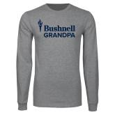 Grey Long Sleeve T Shirt-Bushnell University Grandpa