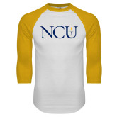 White/Gold Raglan Baseball T Shirt-NCU Logo