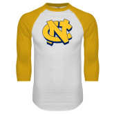White/Gold Raglan Baseball T Shirt-NC Interlocking