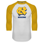 White/Gold Raglan Baseball T Shirt-CN Beacons