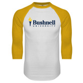 White/Gold Raglan Baseball T Shirt-Bushnell University Primary Mark