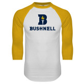 White/Gold Raglan Baseball T Shirt-Bushnell Athletic Mark