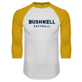 White/Gold Raglan Baseball T Shirt-Softball