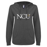ENZA Ladies Dark Heather V Notch Raw Edge Fleece Hoodie-NCU Logo