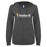 ENZA Ladies Dark Heather V Notch Raw Edge Fleece Hoodie-Bushnell University Primary Mark