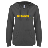ENZA Ladies Dark Heather V Notch Raw Edge Fleece Hoodie-Bushnell Athletics Wordmark