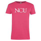 Ladies Fuchsia T Shirt-NCU Logo