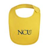 Yellow Baby Bib-NCU Logo