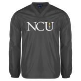 V Neck Charcoal Raglan Windshirt-NCU Logo