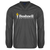 V Neck Charcoal Raglan Windshirt-Bushnell University Primary Mark