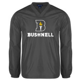 V Neck Charcoal Raglan Windshirt-Bushnell Athletic Mark