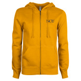 ENZA Ladies Gold Fleece Full Zip Hoodie-NCU Logo