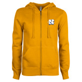 ENZA Ladies Gold Fleece Full Zip Hoodie-NC Interlocking