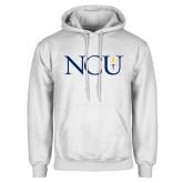 White Fleece Hoodie-NCU Logo