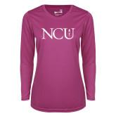 Ladies Syntrel Performance Raspberry Longsleeve Shirt-NCU Logo