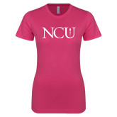 Ladies SoftStyle Junior Fitted Fuchsia Tee-NCU Logo