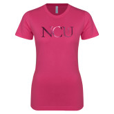 Ladies SoftStyle Junior Fitted Fuchsia Tee-NCU Logo Foil