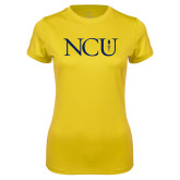 Ladies Syntrel Performance Gold Tee-NCU Logo