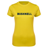 Ladies Syntrel Performance Gold Tee-Bushnell Athletics Wordmark