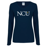 Ladies Navy Long Sleeve V Neck Tee-NCU Logo
