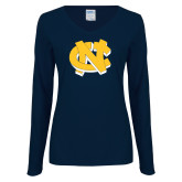 Ladies Navy Long Sleeve V Neck Tee-NC Interlocking