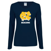 Ladies Navy Long Sleeve V Neck Tee-CN Beacons