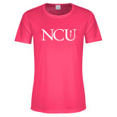 Ladies Performance Hot Pink Tee-NCU Logo