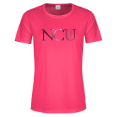 Ladies Performance Hot Pink Tee-NCU Logo Foil