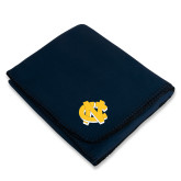 Navy Arctic Fleece Blanket-NC Interlocking
