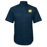 Navy Twill Button Down Short Sleeve-NC Interlocking