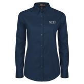 Ladies Navy Twill Button Down Long Sleeve-NCU Logo
