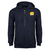 Navy Fleece Full Zip Hoodie-NC Interlocking