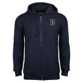 Navy Fleece Full Zip Hoodie-B Icon