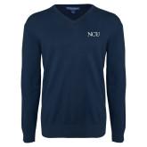 Classic Mens V Neck Navy Sweater-NCU Logo
