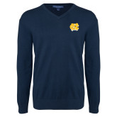 Classic Mens V Neck Navy Sweater-NC Interlocking
