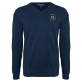 Classic Mens V Neck Navy Sweater-B Icon