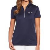 Ladies Callaway Tulip Sleeve Navy Zip Polo-NCU Logo