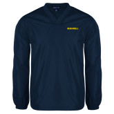 V Neck Navy Raglan Windshirt-Bushnell Athletics Wordmark