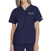 Ladies Navy Two Pocket V Neck Scrub Top-NCU Logo