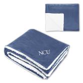 Super Soft Luxurious Navy Sherpa Throw Blanket-NCU Logo