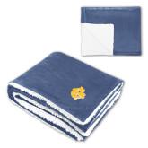 Super Soft Luxurious Navy Sherpa Throw Blanket-NC Interlocking